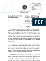 COMELEC guidelines on Re-Opening of Voter's Registration