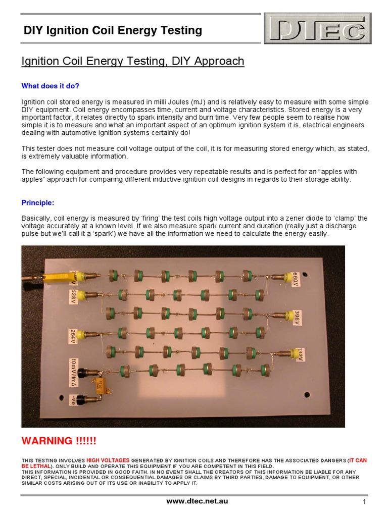 Ignition Coil Energy Testingpdf Resistor Electric Current Zener Diode Tester