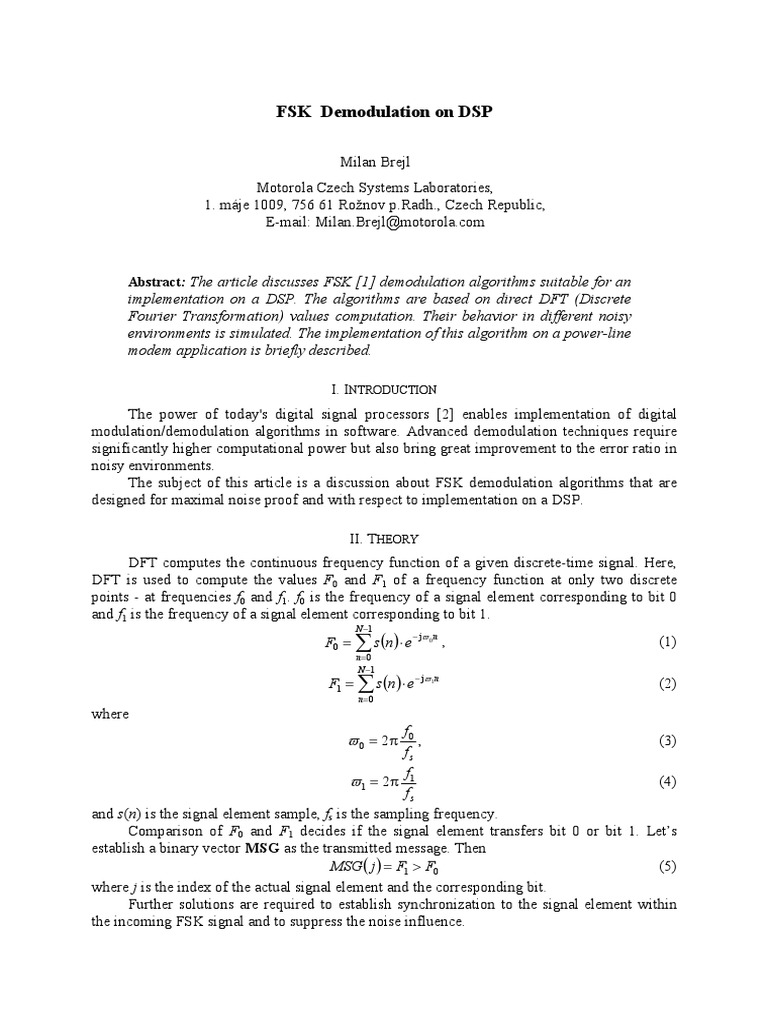 Fsk Demodulation Algorithm