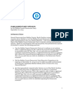 2014 Parliamentary Opinion -- Halifax County Democratic Party