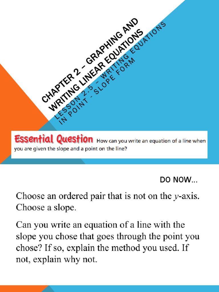 lesson 26  writing equations in slopeintercept form