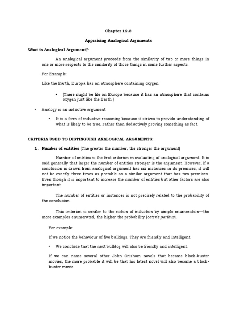 123 Appraising Analogical Arguments Argument Inductive Reasoning