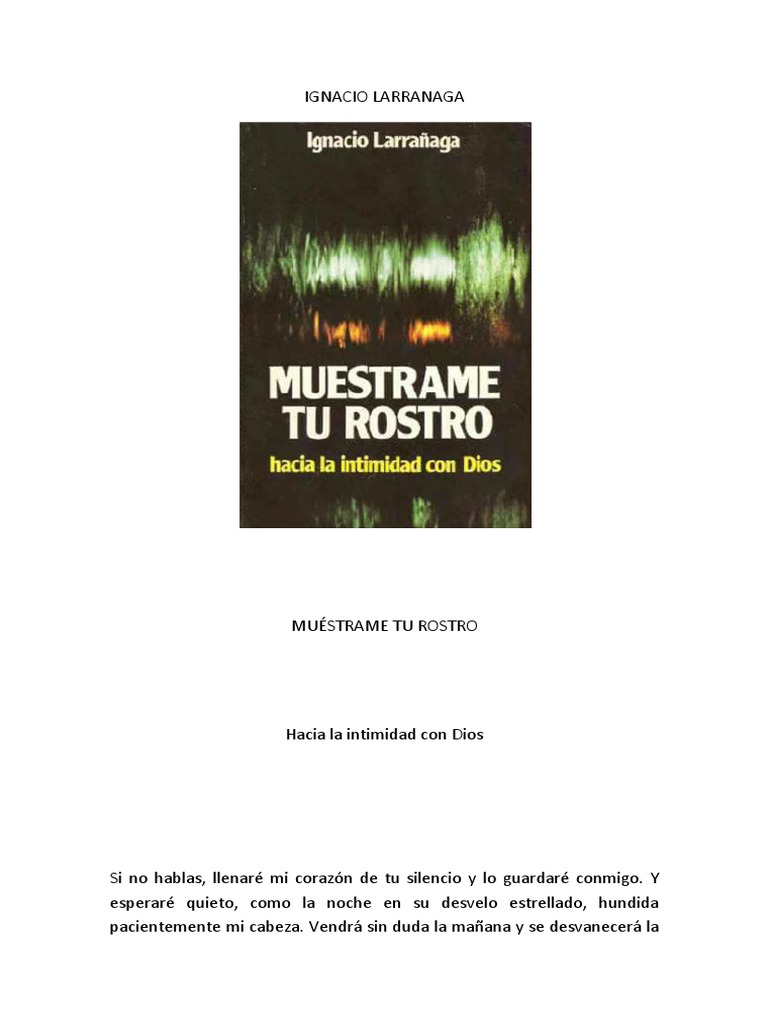 Muestrame Tu Rostro Ignacio Larranaga Epub Download