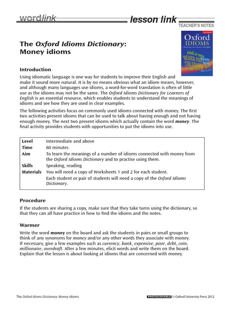 Money Idioms.pdf | Idiom | Oxford University Press