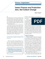 Bridge Between Finance and Production is Information, Not Culture Change