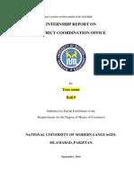 Internship Report  on DCO Office Chiniot 2014