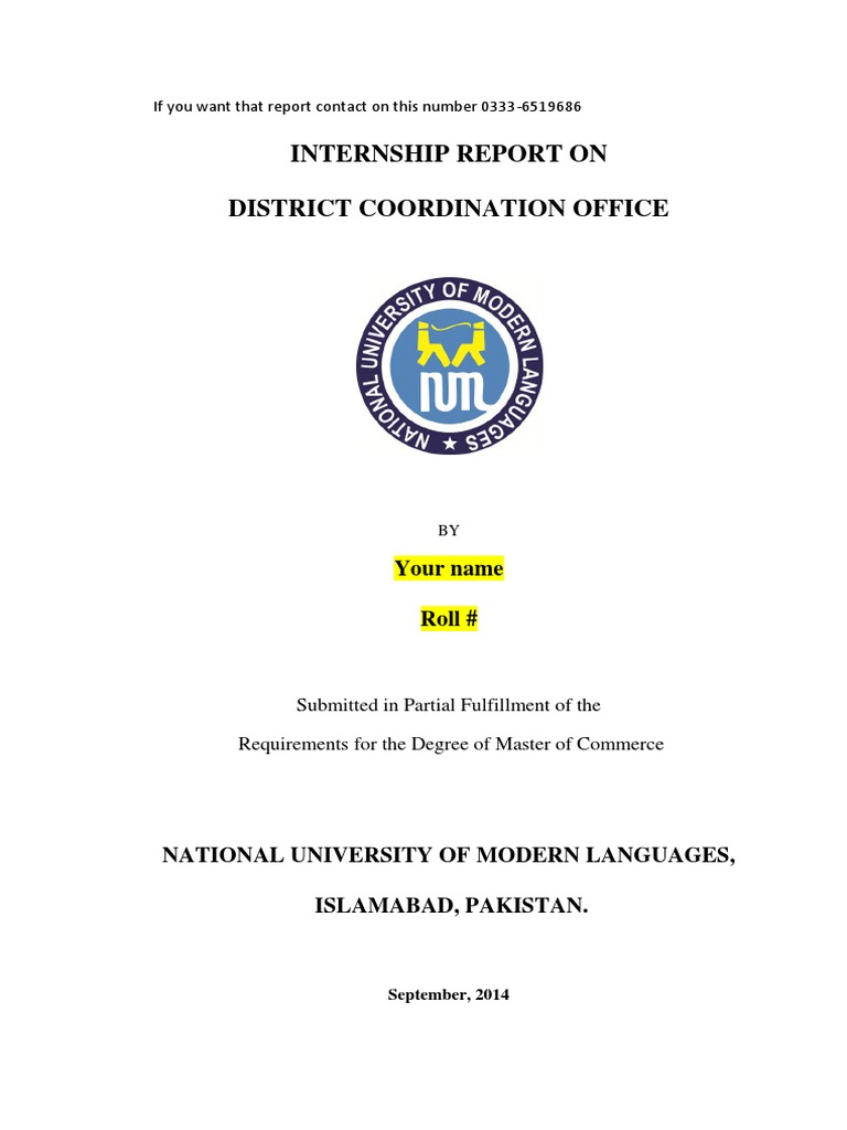 Internship Report on DCO Office Chiniot 2014 | Local Government