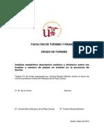 Análisis estadístico descriptivo estático y dinámico sobre los hoteles y número de plazas en hoteles en la provincia de Sevilla
