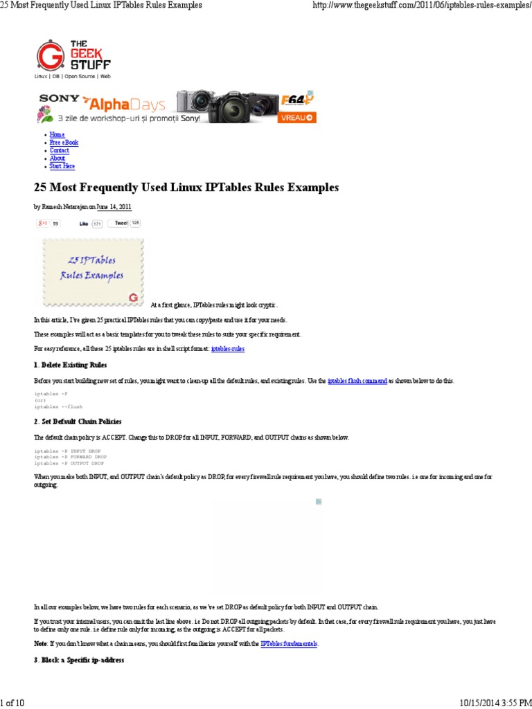 25 Most Frequently Used Linux IPTables Rules  pdf | Port (Computer