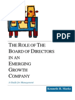 The Role of the Board of Directors in an Emerging Growth Comp