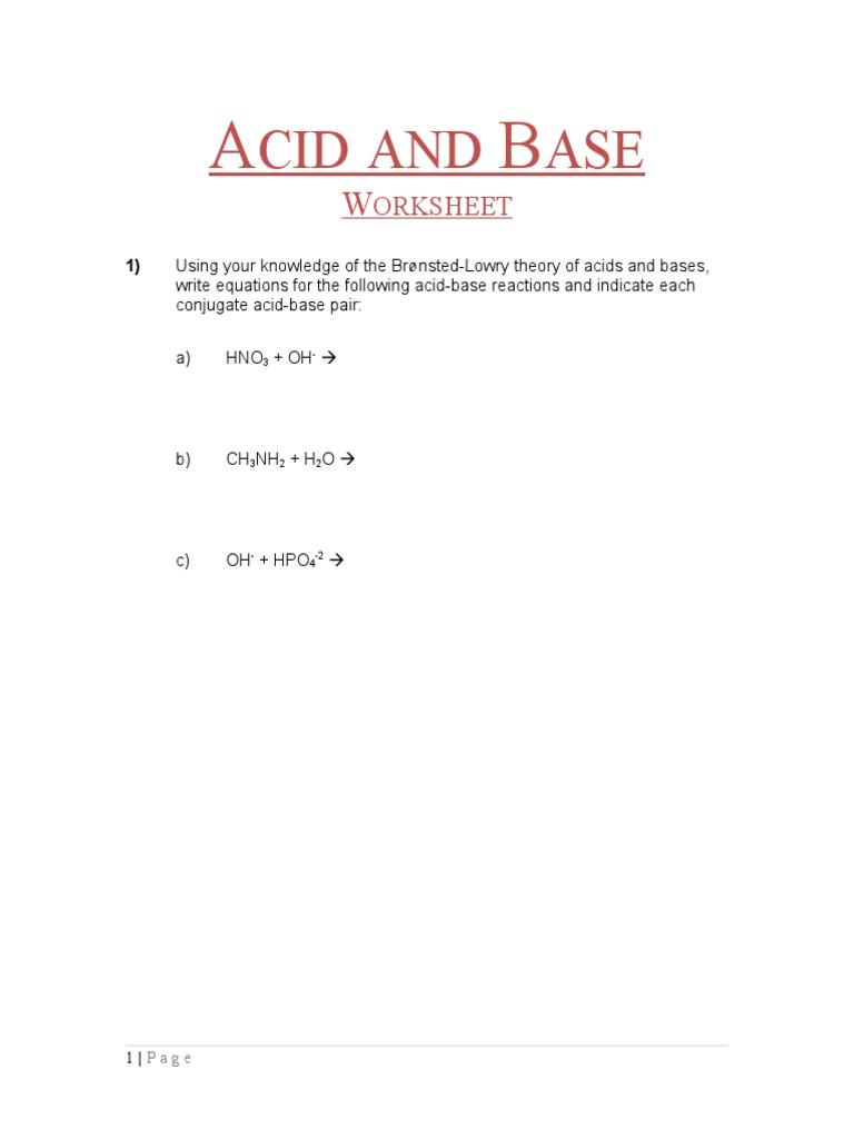 Acid Base Worksheet   Acid   Analytical Chemistry