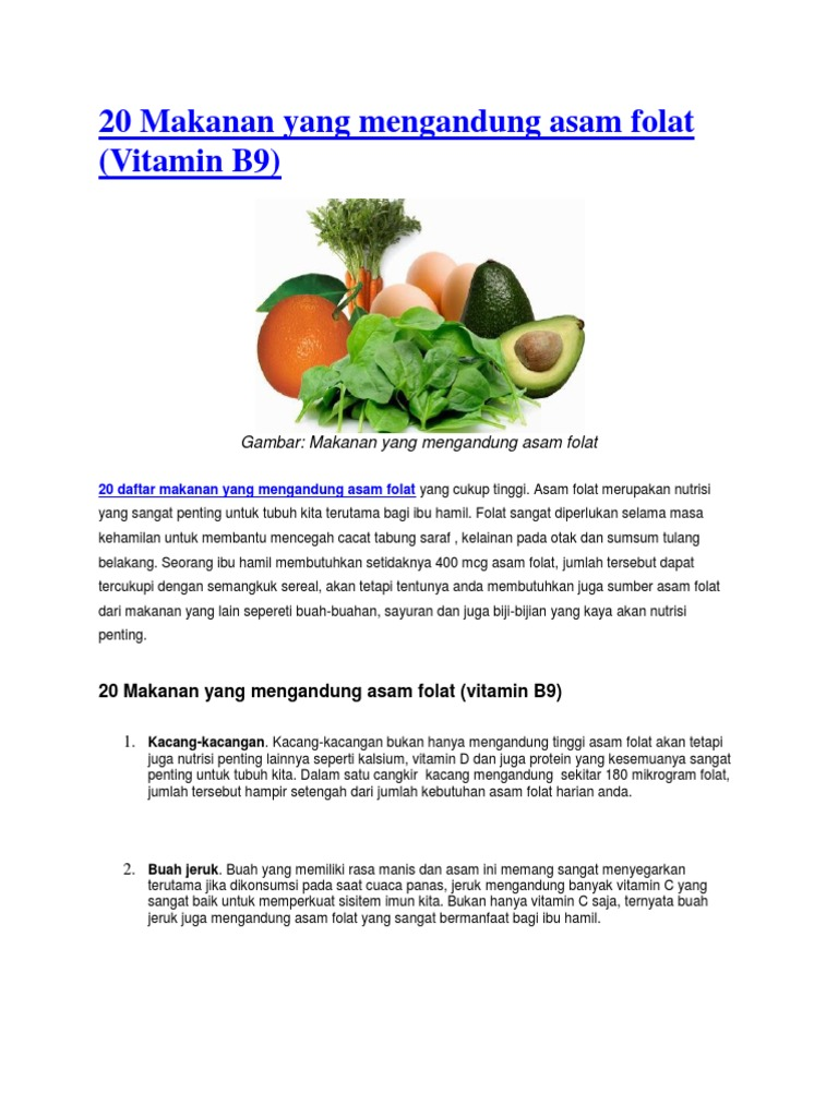 20 Makanan Yang Mengandung Asam Folat Docx