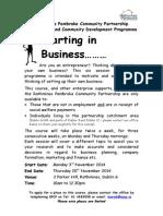 RPCP Starting in Business Flyer Starts Morning 3rd November 2014