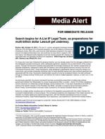Search begins for A-List Legal Team as prep for multi-billion dollar Lawsuit gets underway