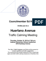 Meeting notice for the Huerfano Avenue traffic calming community meeting.