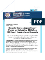 Schuette Charges Lapeer County Woman for Embezzling $460k from 136 Elderly Nursing Home Residents