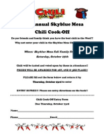 Chili Cook-Off 2014- Info and Entry Form