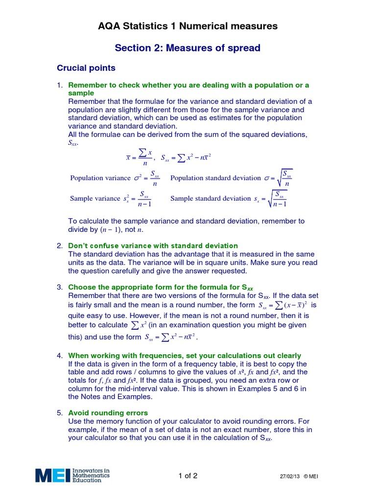 Measures Of Spreadpdf Standard Deviation Variance