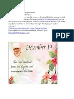 Shri Shirdi Sai Speaks for 19th Dec/ Distribute Sai Calendar to ur family & friends