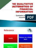 Qualitative Characteristics and Accounting Principles