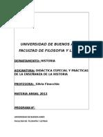 DIDÁCTICA ESPECIAL (2013) Finocchio FFyL UBA PROGRAMA.doc