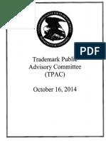 USPTO Trademark Public Advisory Committee handout October 10, 2016