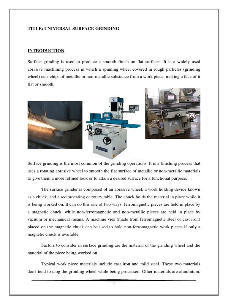 Surface Grinding Report | Grinding (Abrasive Cutting