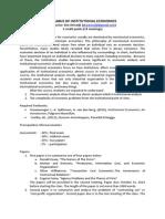 Syllabus of Institutional Economics New