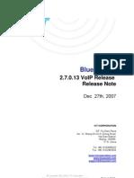 IVT BlueSoleil 2.7.0.13 VoIP Release 071227 Release Note
