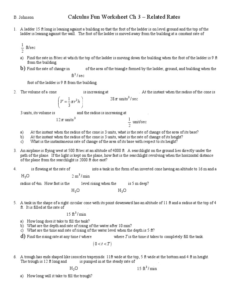 Calculus Worksheet Ch 3 Related Rates Area – Converting Unit Rates Worksheet