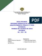 agua potable sistemas hidraulicos para el abastecimiento publico y usos diversos normas sanitarias de calidad de agua potable rg-018-98.doc