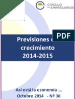 Previsiones de crecimiento 2014-2015 (Así está la economía octubre 2014)