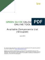 Green Guide Calculator Components List v 4