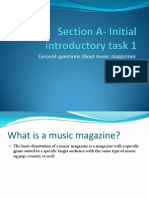 Section a- Initial Introductory Task 1 and magazine front cover questions