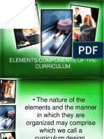 ELEMENTS/COMPONENTS OF THE CURRICULUM