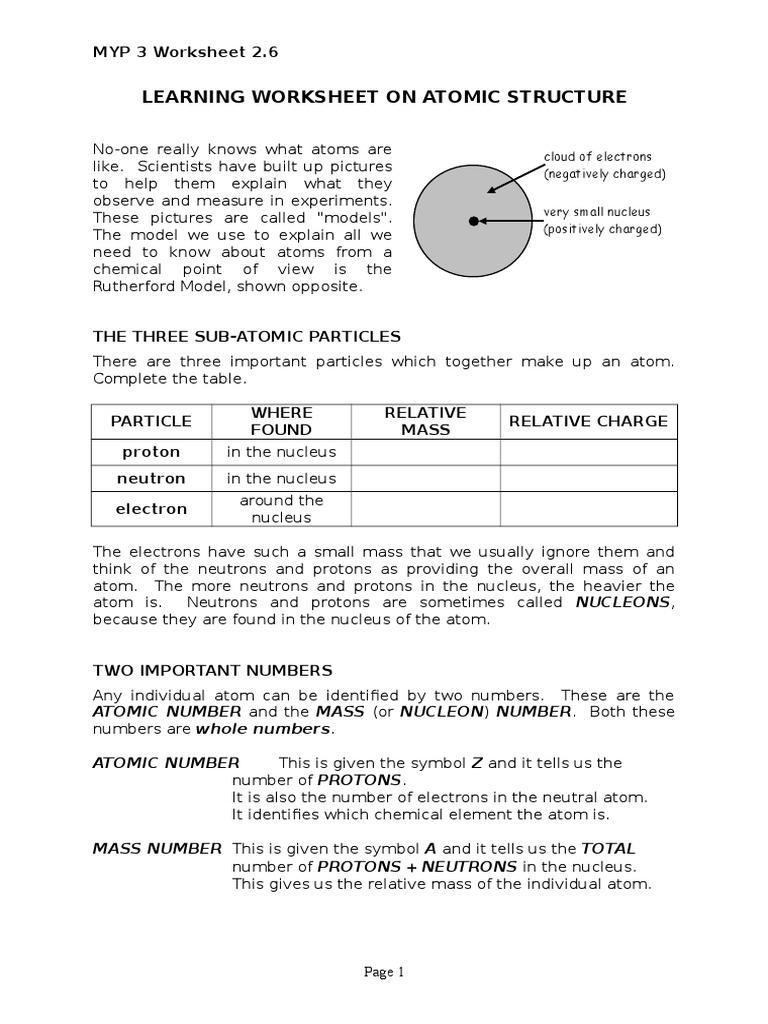 Worksheet 2.6 Learning Worksheet on Atomic Structure.doc | Atoms ...