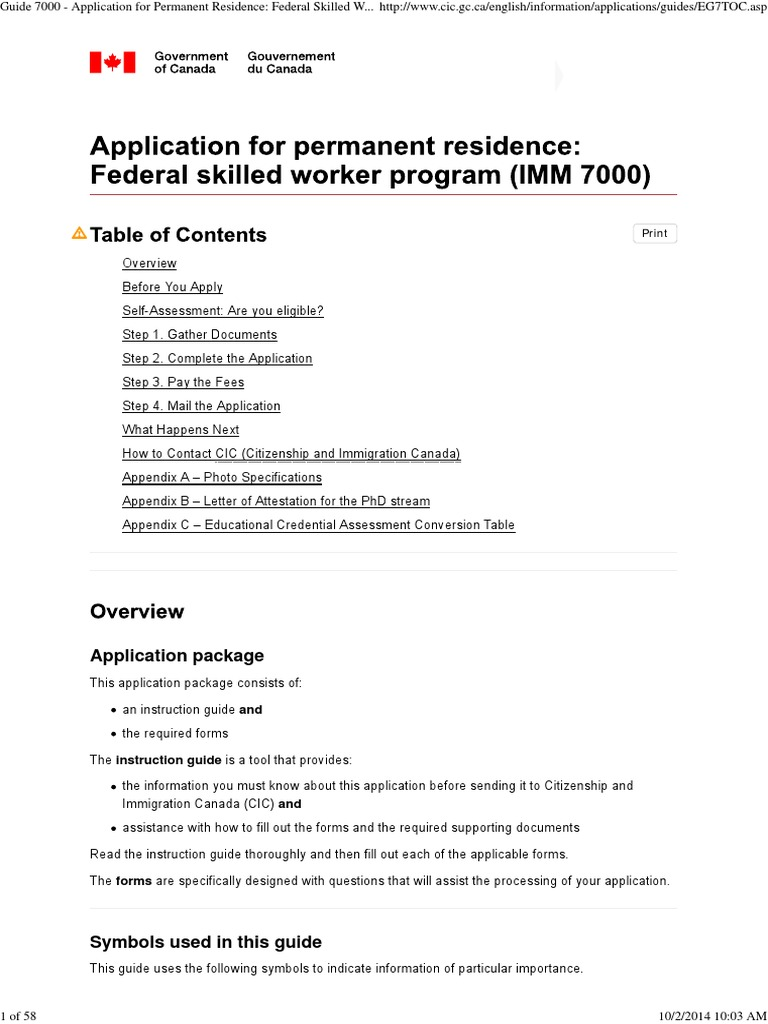 Guide 7000 application for permanent residence_ federal skilled worker class international english language testing system permanent residence united