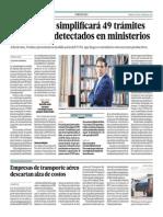 Ejecutivo simplificará 49 trámites engorrosos detectados en ministerios_El Comercio 17-10-2014.pdf