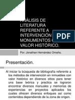 Análisis de Literatura Referente a Intervención de Monumentos