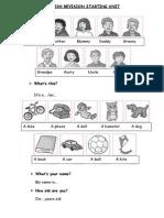 English Revision Starting Unit