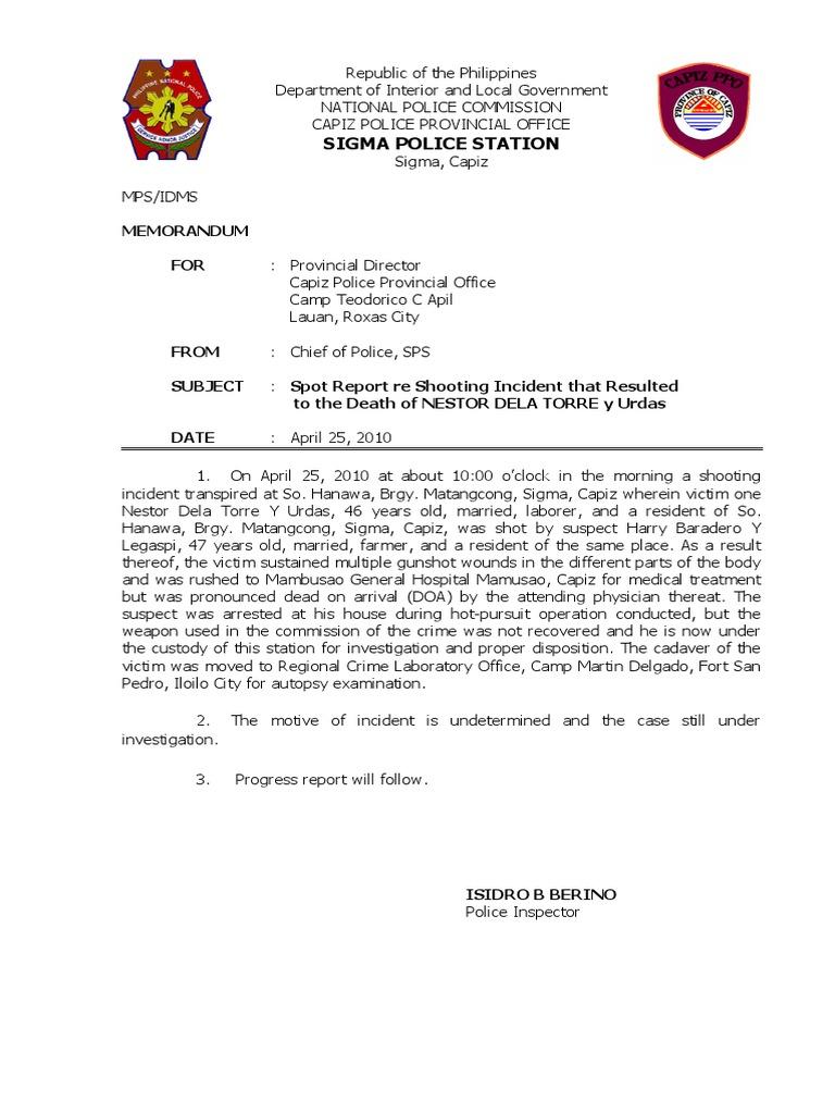 Spot Report Shooting Incident Doa Affidavit – Incident Report Sample Format