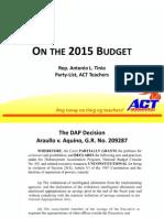 2015 Budget as presented by Rep Antonio Tinio