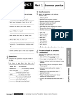 Messages Level3 Pre Intermediate Unit1 Grammar Worksheets