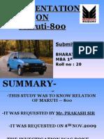 Presentation on Maruti-800
