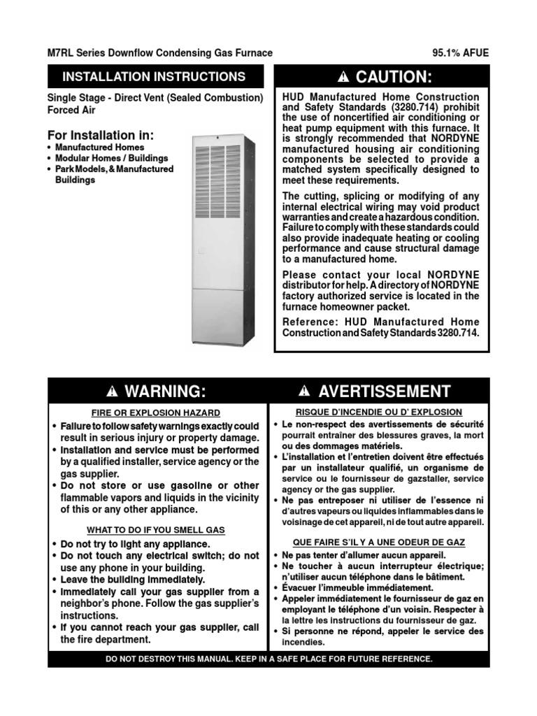 Nordyne M7rl Furnace Manual - Complete Wiring Diagrams •