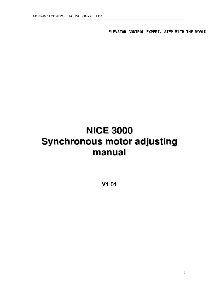nice3000 synchronous motor adjusting manual pdf pdf elevator rh es scribd com