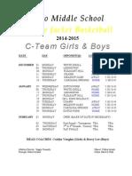 Cteam Basketball Schedule 2014-15