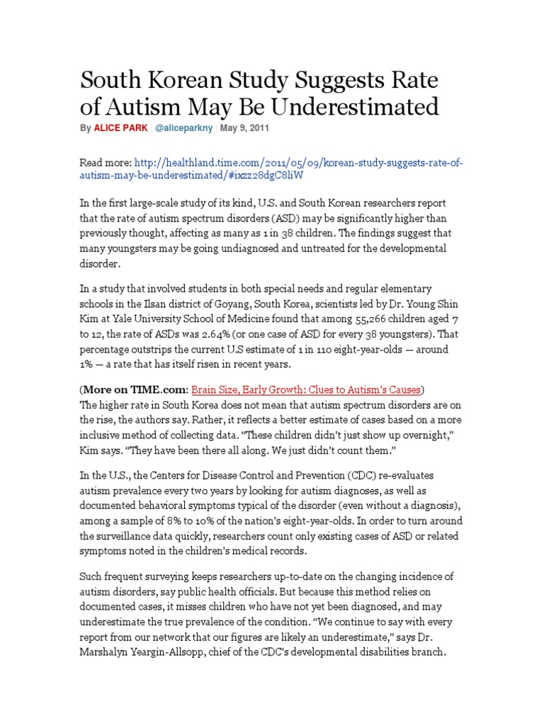Study Finds High Rate Of Developmental >> 2 Korean Autism Rate Autism Autism Spectrum