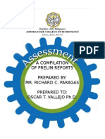 Compilation of Prelim Reports (Authentic Assessment and Rubrics)