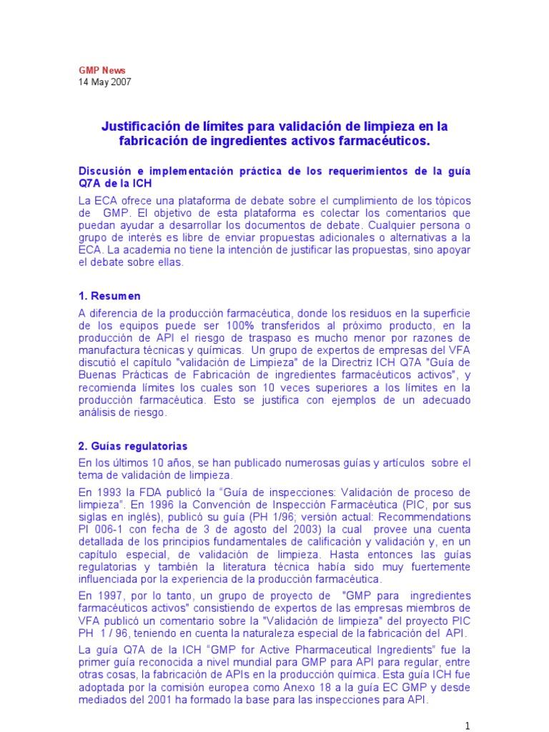 Justificacin de lmites para validacin de limpieza en la justificacin de lmites para validacin de limpieza en la fabricacin de ingredientes activos urtaz Choice Image